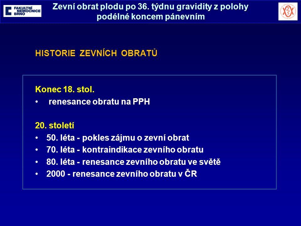 HISTORIE ZEVNÍCH OBRATŮ Konec 18. stol. renesance obratu na PPH 20.