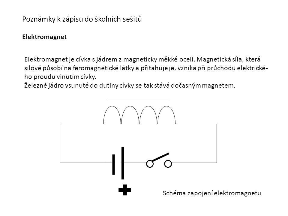 Poznámky k zápisu do školních sešitů Elektromagnet Elektromagnet je cívka s jádrem z magneticky měkké oceli.