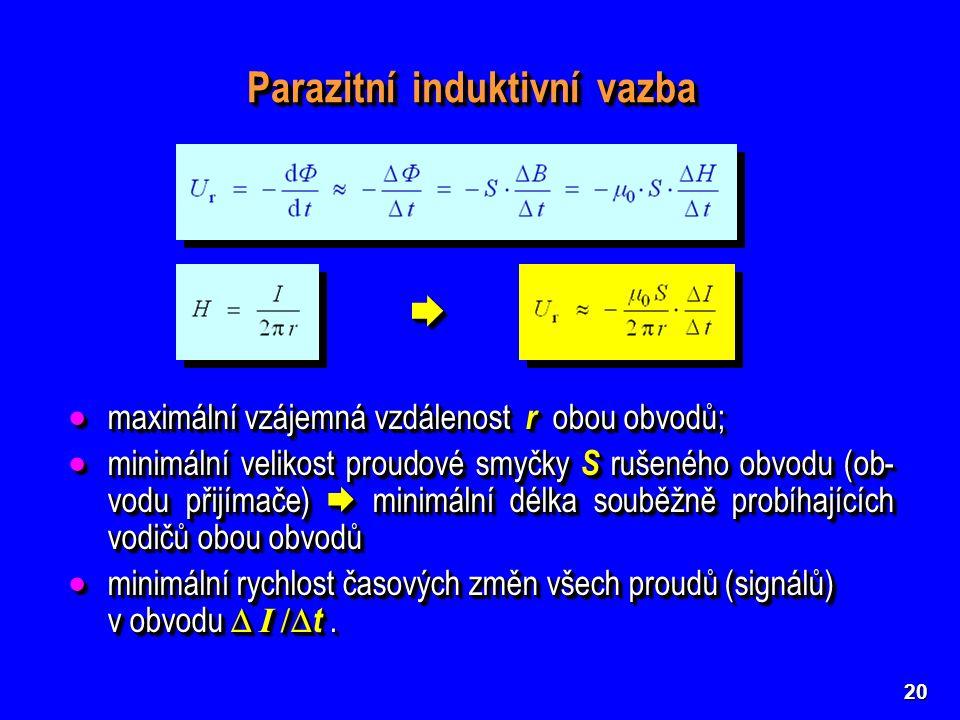 20 Parazitní induktivní vazba   maximální vzájemná vzdálenost r obou obvodů;  minimální velikost proudové smyčky S rušeného obvodu (ob- vodu přijí