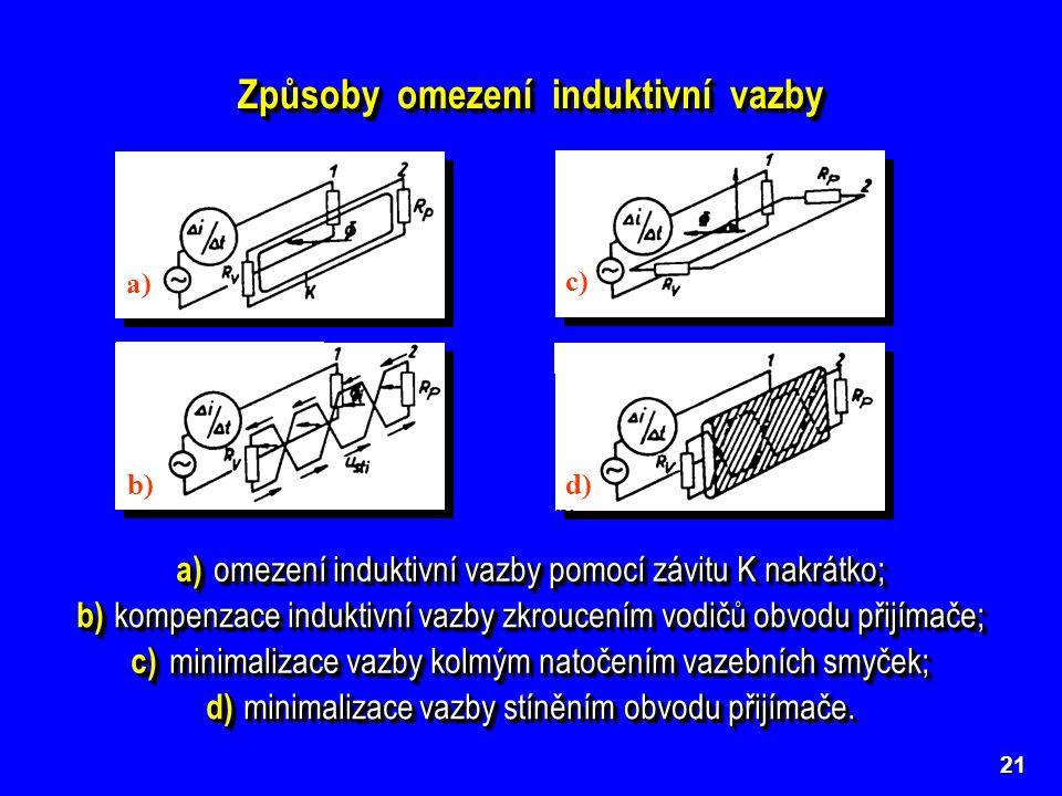 21 Způsoby omezení induktivní vazby a) omezení induktivní vazby pomocí závitu K nakrátko; a) b) c) d) b) kompenzace induktivní vazby zkroucením vodičů