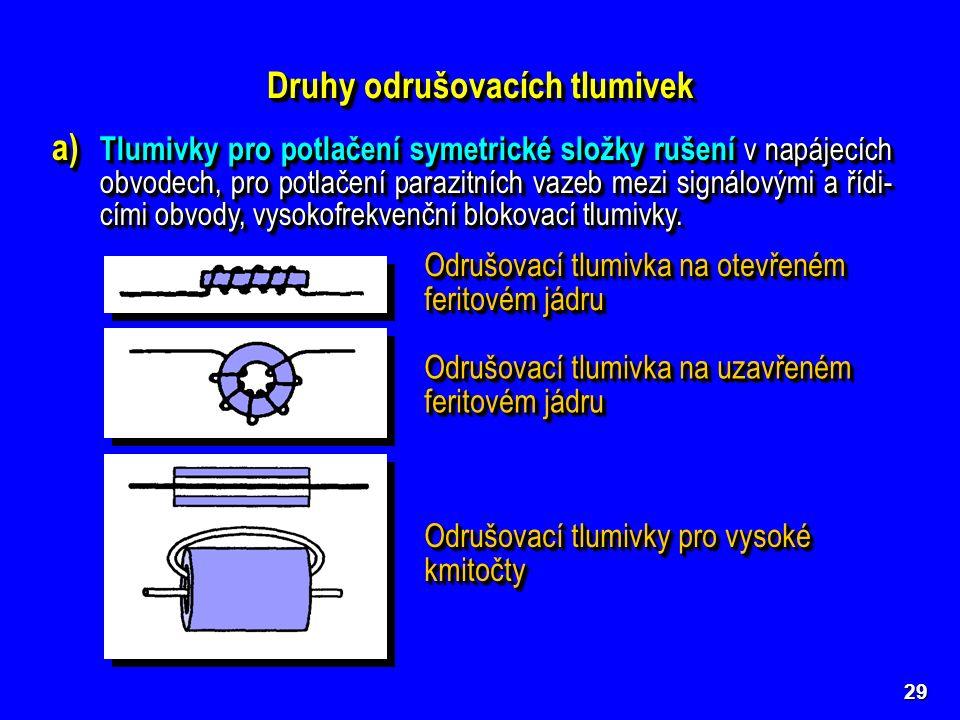 29 Druhy odrušovacích tlumivek a) Tlumivky pro potlačení symetrické složky rušení v napájecích obvodech, pro potlačení parazitních vazeb mezi signálov