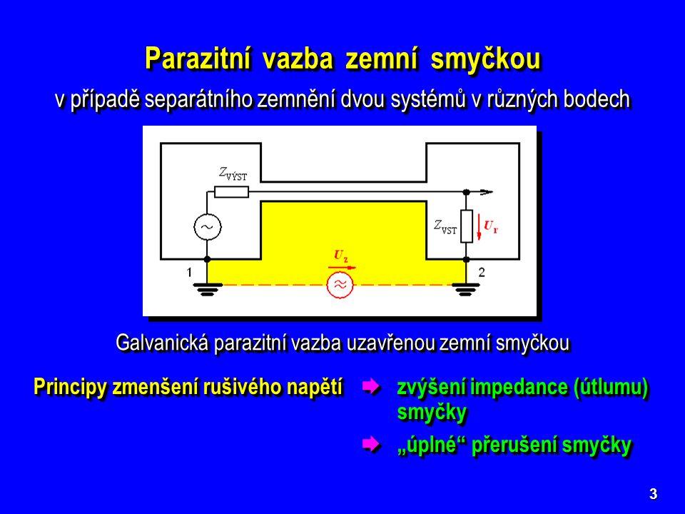 3 Parazitní vazba zemní smyčkou v případě separátního zemnění dvou systémů v různých bodech Parazitní vazba zemní smyčkou v případě separátního zemněn