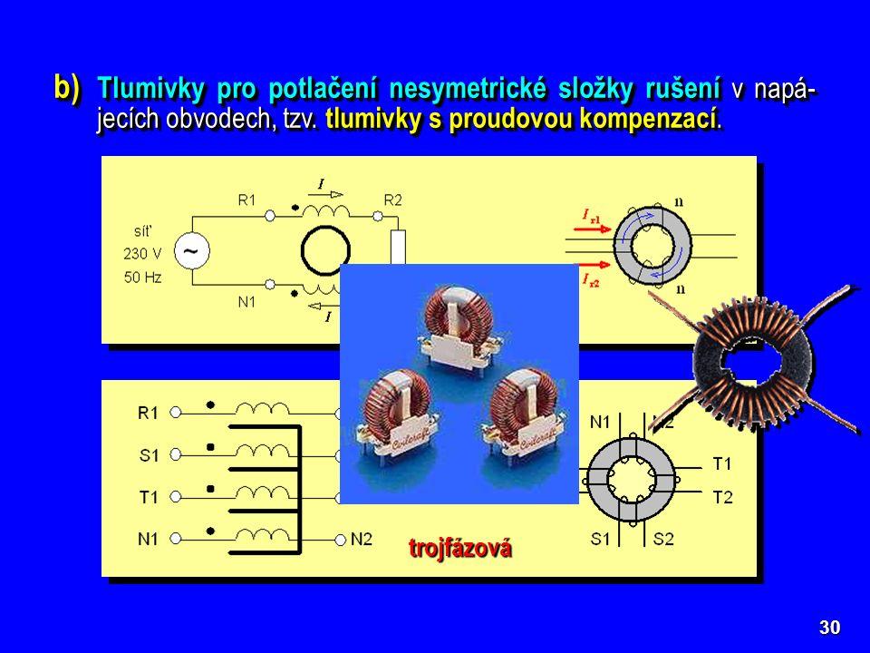 30 b) Tlumivky pro potlačení nesymetrické složky rušení v napá- jecích obvodech, tzv. tlumivky s proudovou kompenzací. jednofázová trojfázová