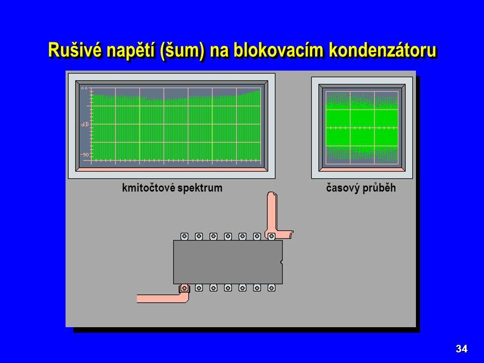34 kmitočtové spektrum časový průběh Rušivé napětí (šum) na blokovacím kondenzátoru