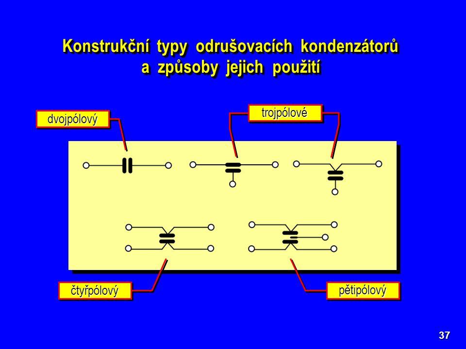 37 Konstrukční typy odrušovacích kondenzátorů a způsoby jejich použití Konstrukční typy odrušovacích kondenzátorů a způsoby jejich použití dvojpólovýd