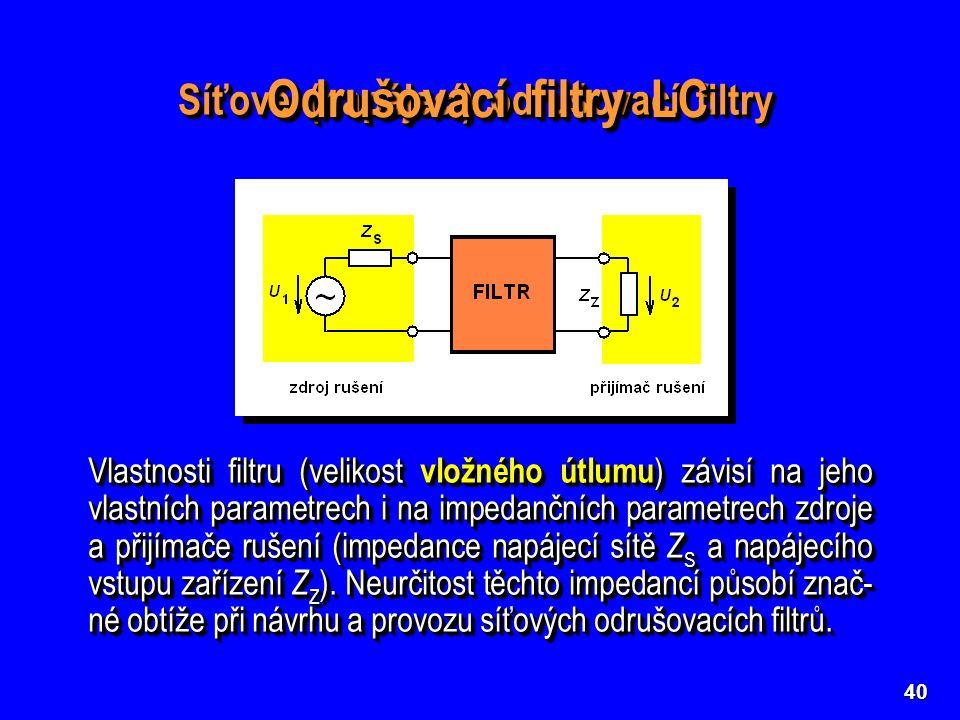 40 Síťové (napájecí) odrušovací filtry Vlastnosti filtru (velikost vložného útlumu ) závisí na jeho vlastních parametrech i na impedančních parametrec