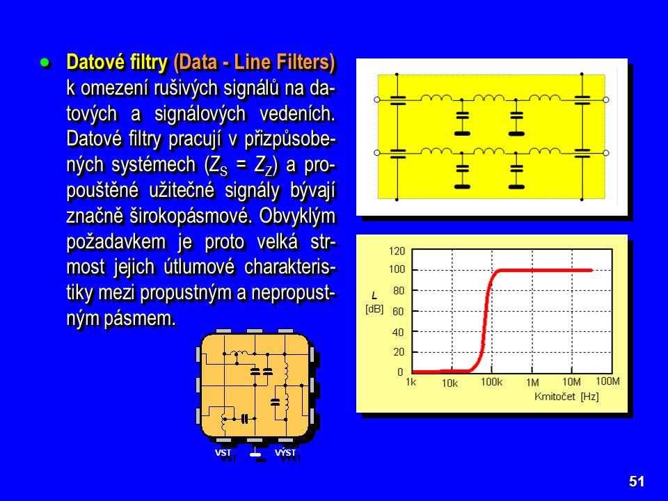  Datové filtry (Data - Line Filters) k omezení rušivých signálů na da- tových a signálových vedeních. Datové filtry pracují v přizpůsobe- ných systém
