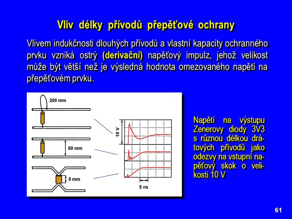61 Vliv délky přívodů přepěťové ochrany Vlivem indukčnosti dlouhých přívodů a vlastní kapacity ochranného prvku vzniká ostrý (derivační) napěťový impu