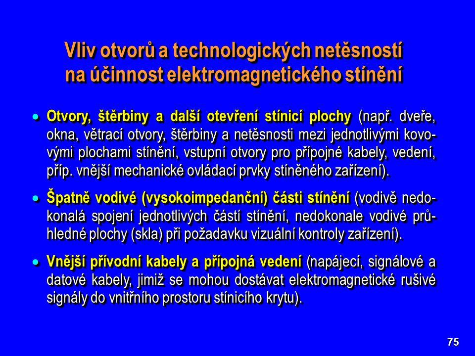 75 Vliv otvorů a technologických netěsností na účinnost elektromagnetického stínění  Otvory, štěrbiny a další otevření stínicí plochy (např. dveře, o