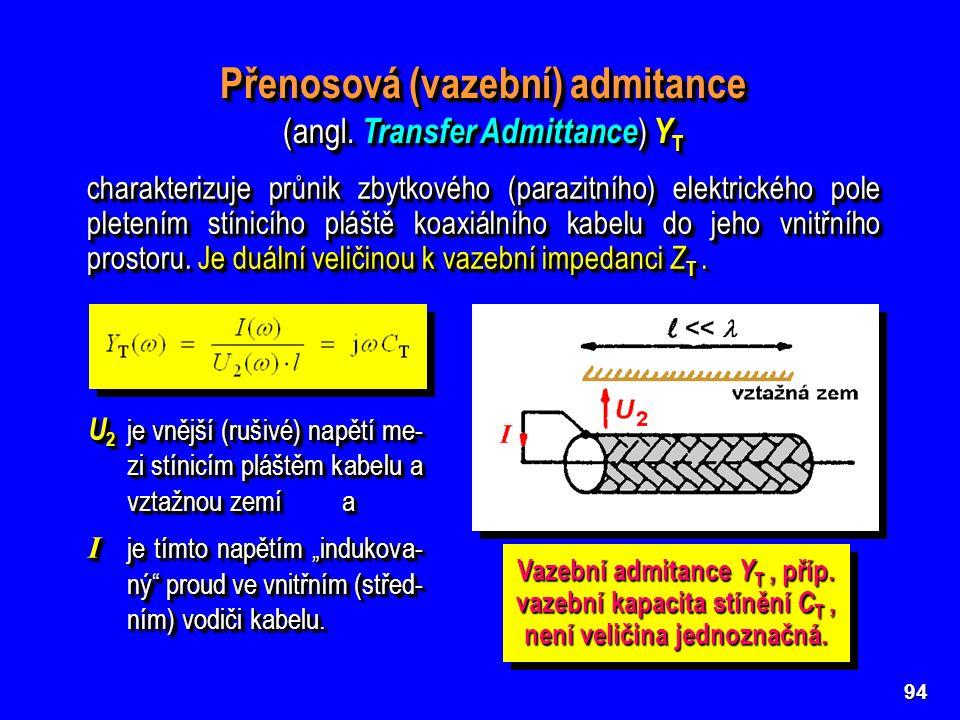 94 Přenosová (vazební) admitance (angl. Transfer Admittance ) Y T Přenosová (vazební) admitance (angl. Transfer Admittance ) Y T U 2 je vnější (rušivé