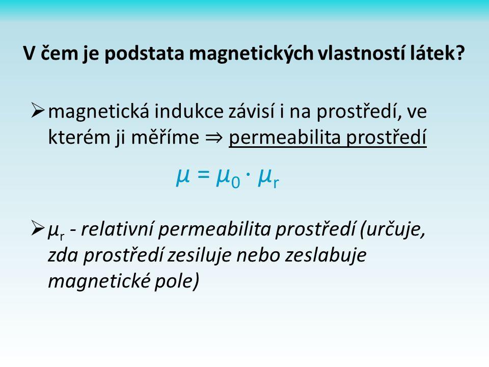  magnetická indukce závisí i na prostředí, ve kterém ji měříme ⇒ permeabilita prostředí µ = µ 0 ⋅ µ r  µ r - relativní permeabilita prostředí (určuje, zda prostředí zesiluje nebo zeslabuje magnetické pole) V čem je podstata magnetických vlastností látek