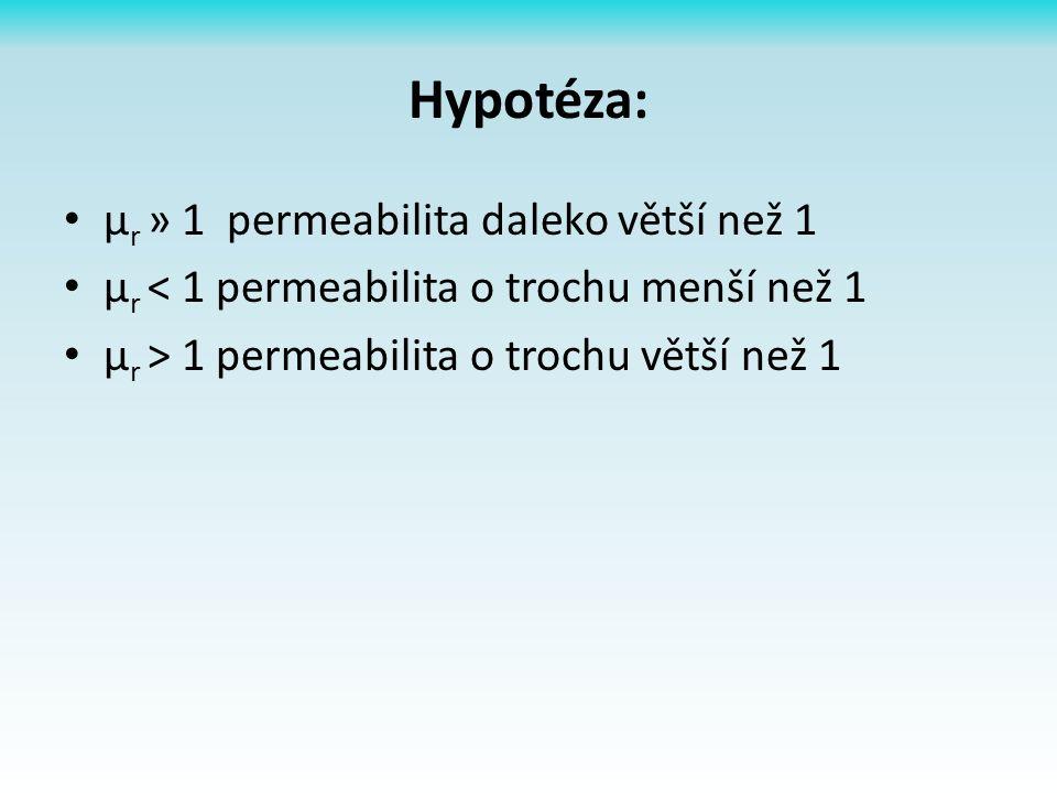 Hypotéza: µ r » 1 permeabilita daleko větší než 1 µ r < 1 permeabilita o trochu menší než 1 µ r > 1 permeabilita o trochu větší než 1