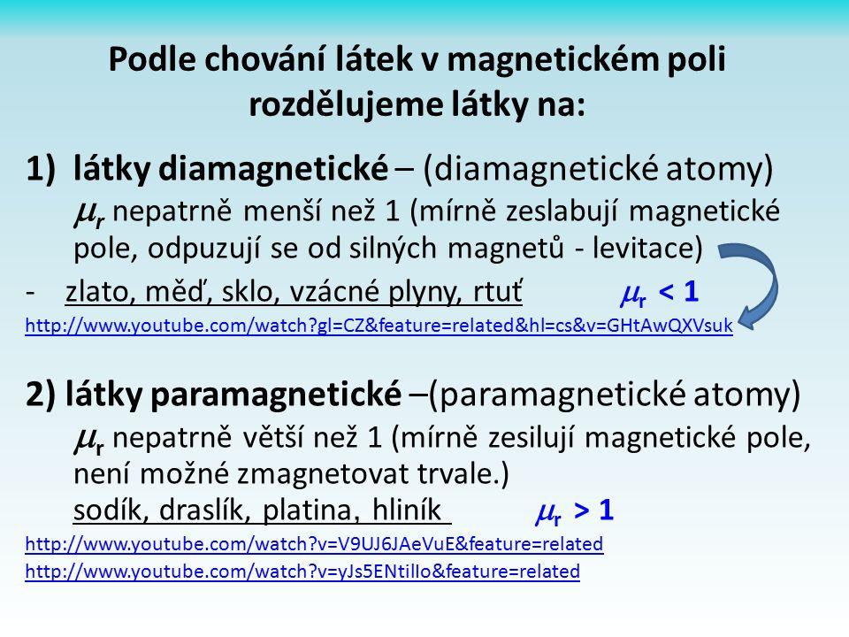 Podle chování látek v magnetickém poli rozdělujeme látky na: 1)látky diamagnetické – (diamagnetické atomy)  r nepatrně menší než 1 (mírně zeslabují magnetické pole, odpuzují se od silných magnetů - levitace) - zlato, měď, sklo, vzácné plyny, rtuť  r < 1 http://www.youtube.com/watch gl=CZ&feature=related&hl=cs&v=GHtAwQXVsuk 2) látky paramagnetické –(paramagnetické atomy)  r nepatrně větší než 1 (mírně zesilují magnetické pole, není možné zmagnetovat trvale.) sodík, draslík, platina, hliník  r > 1 http://www.youtube.com/watch v=V9UJ6JAeVuE&feature=related http://www.youtube.com/watch v=yJs5ENtilIo&feature=related