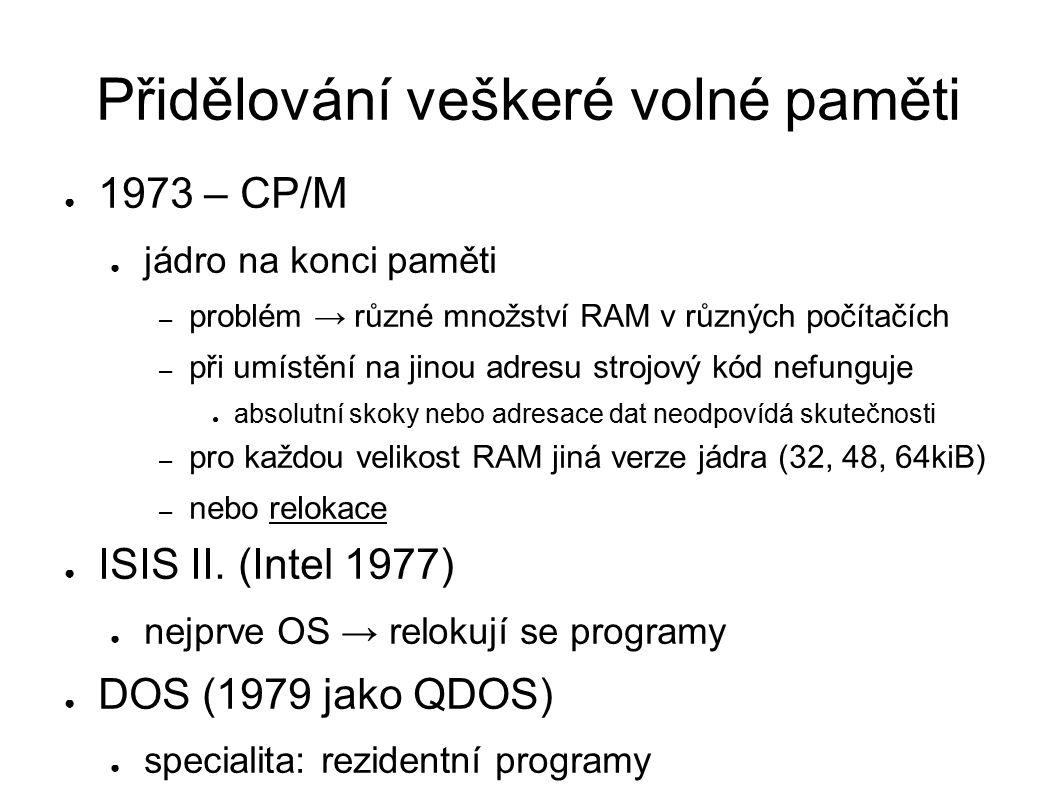Přidělování veškeré volné paměti ● 1973 – CP/M ● jádro na konci paměti – problém → různé množství RAM v různých počítačích – při umístění na jinou adr