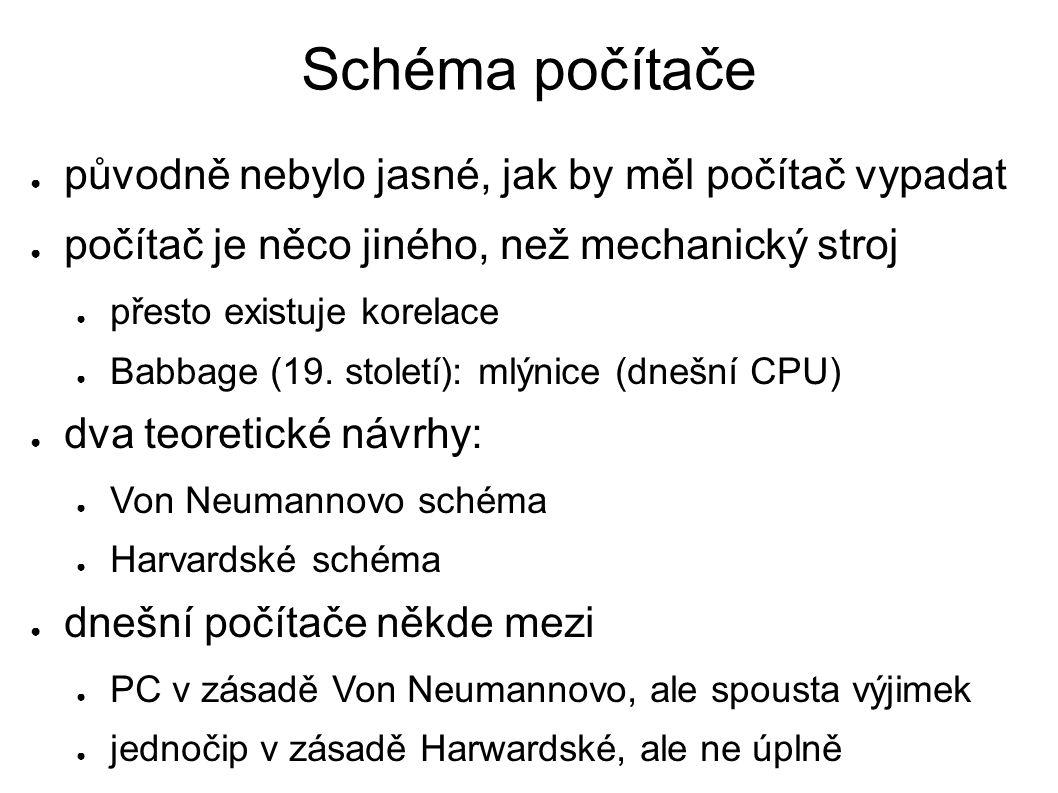 Schéma počítače ● původně nebylo jasné, jak by měl počítač vypadat ● počítač je něco jiného, než mechanický stroj ● přesto existuje korelace ● Babbage (19.