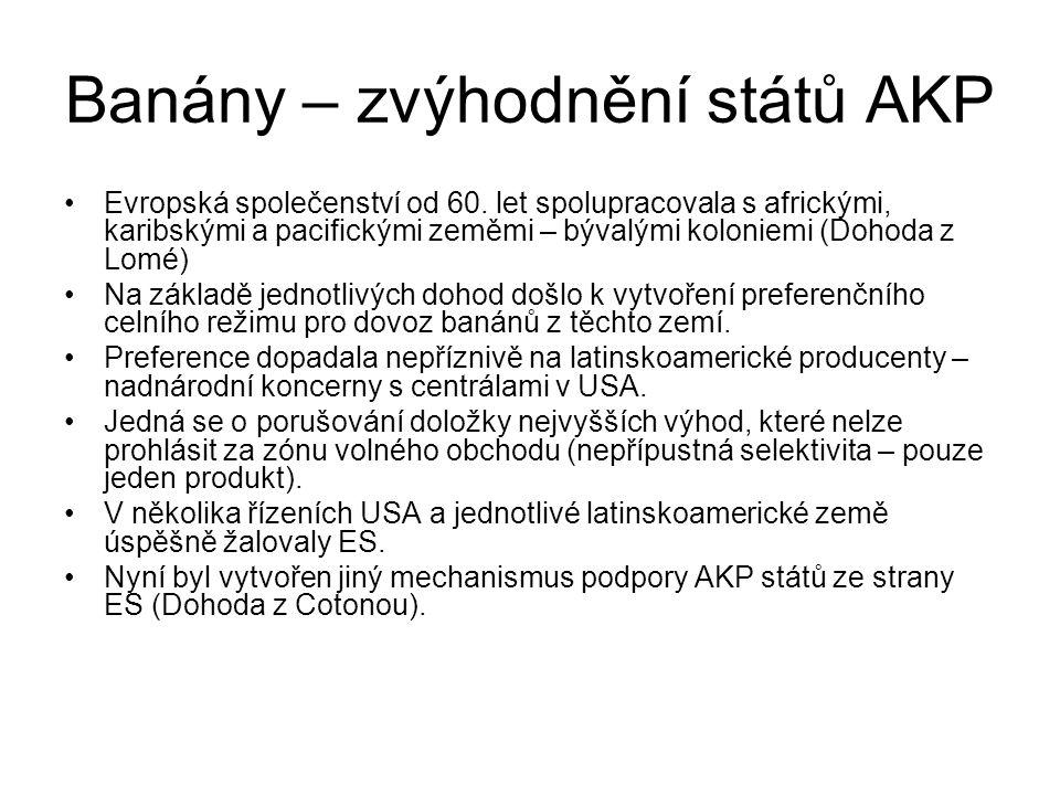 Banány – zvýhodnění států AKP Evropská společenství od 60.