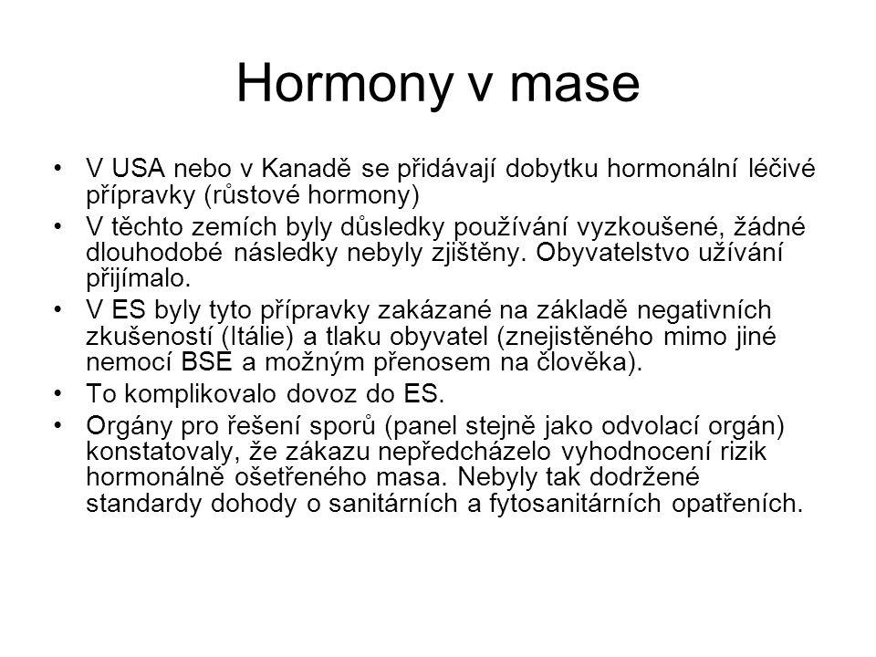 Hormony v mase V USA nebo v Kanadě se přidávají dobytku hormonální léčivé přípravky (růstové hormony) V těchto zemích byly důsledky používání vyzkoušené, žádné dlouhodobé následky nebyly zjištěny.