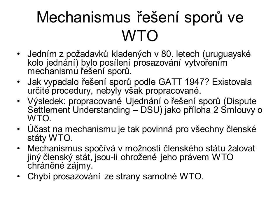Mechanismus řešení sporů ve WTO Jedním z požadavků kladených v 80.