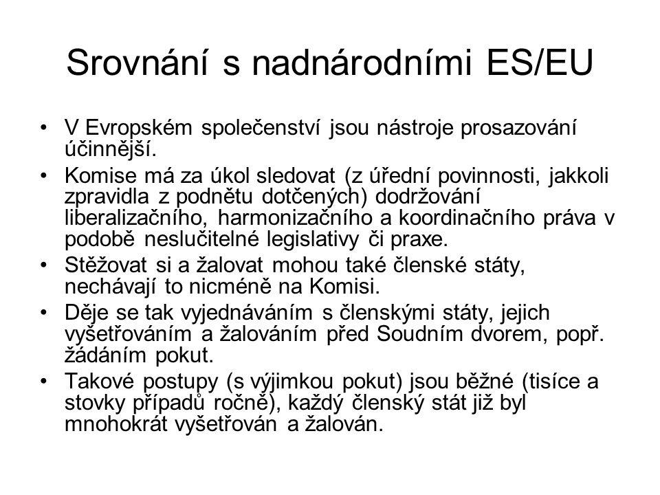 Srovnání s nadnárodními ES/EU V Evropském společenství jsou nástroje prosazování účinnější.