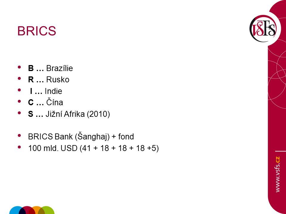 BRICS B … Brazílie R … Rusko I … Indie C … Čína S … Jižní Afrika (2010) BRICS Bank (Šanghaj) + fond 100 mld.
