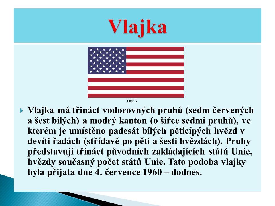  Vlajka má třináct vodorovných pruhů (sedm červených a šest bílých) a modrý kanton (o šířce sedmi pruhů), ve kterém je umístěno padesát bílých pěticípých hvězd v devíti řadách (střídavě po pěti a šesti hvězdách).