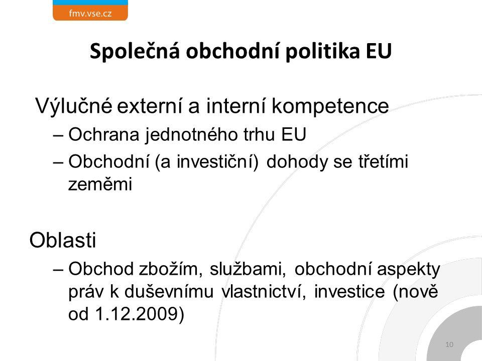 Společná obchodní politika EU Výlučné externí a interní kompetence –Ochrana jednotného trhu EU –Obchodní (a investiční) dohody se třetími zeměmi Oblasti –Obchod zbožím, službami, obchodní aspekty práv k duševnímu vlastnictví, investice (nově od 1.12.2009) 10