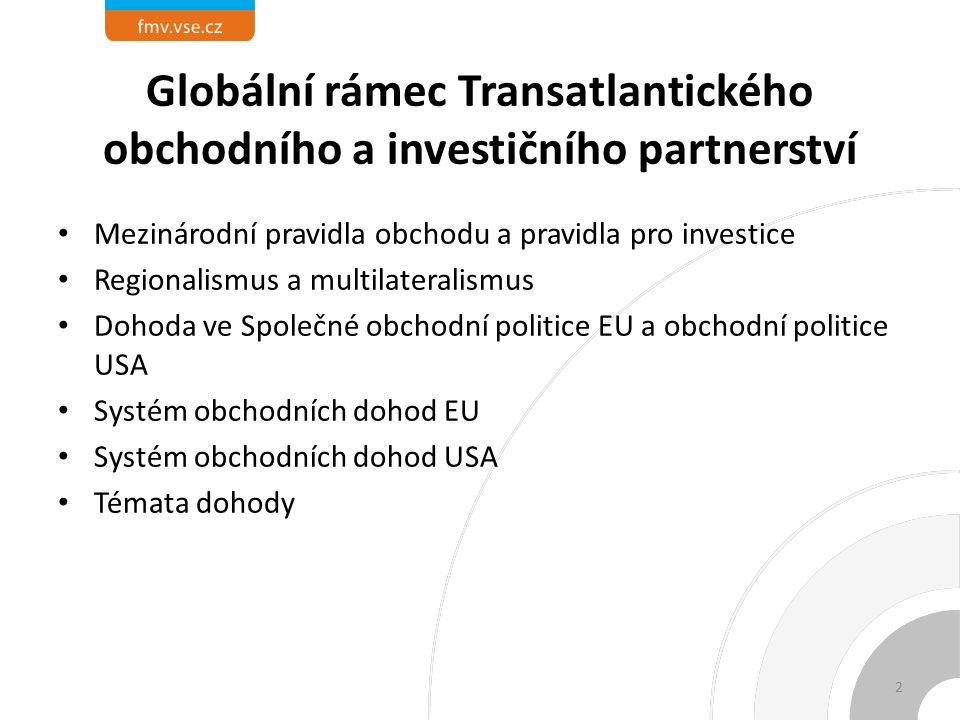Globální rámec Transatlantického obchodního a investičního partnerství Mezinárodní pravidla obchodu a pravidla pro investice Regionalismus a multilateralismus Dohoda ve Společné obchodní politice EU a obchodní politice USA Systém obchodních dohod EU Systém obchodních dohod USA Témata dohody 2