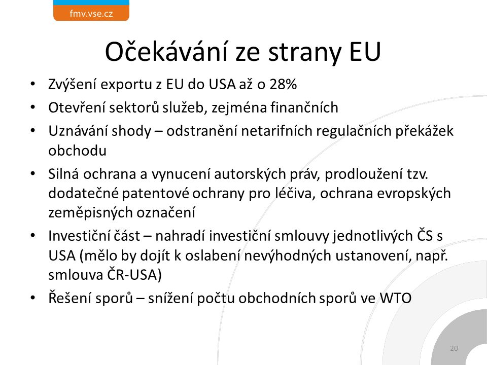 Očekávání ze strany EU Zvýšení exportu z EU do USA až o 28% Otevření sektorů služeb, zejména finančních Uznávání shody – odstranění netarifních regulačních překážek obchodu Silná ochrana a vynucení autorských práv, prodloužení tzv.