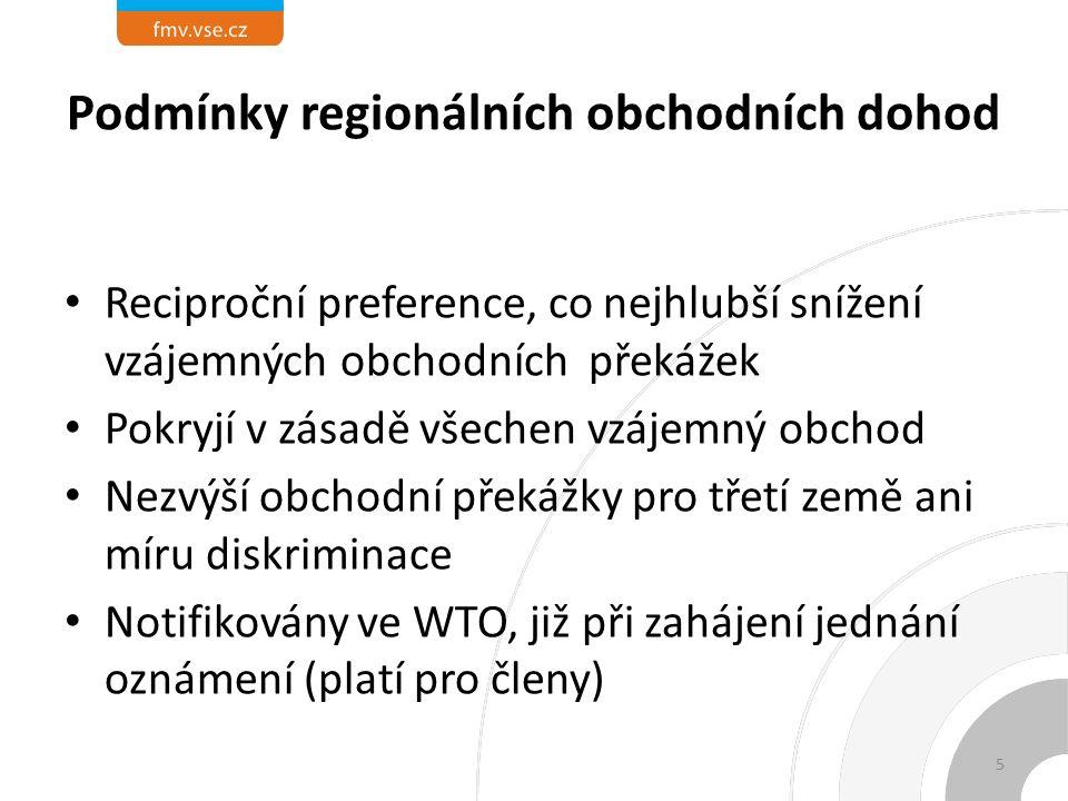 Podmínky regionálních obchodních dohod Reciproční preference, co nejhlubší snížení vzájemných obchodních překážek Pokryjí v zásadě všechen vzájemný obchod Nezvýší obchodní překážky pro třetí země ani míru diskriminace Notifikovány ve WTO, již při zahájení jednání oznámení (platí pro členy) 5
