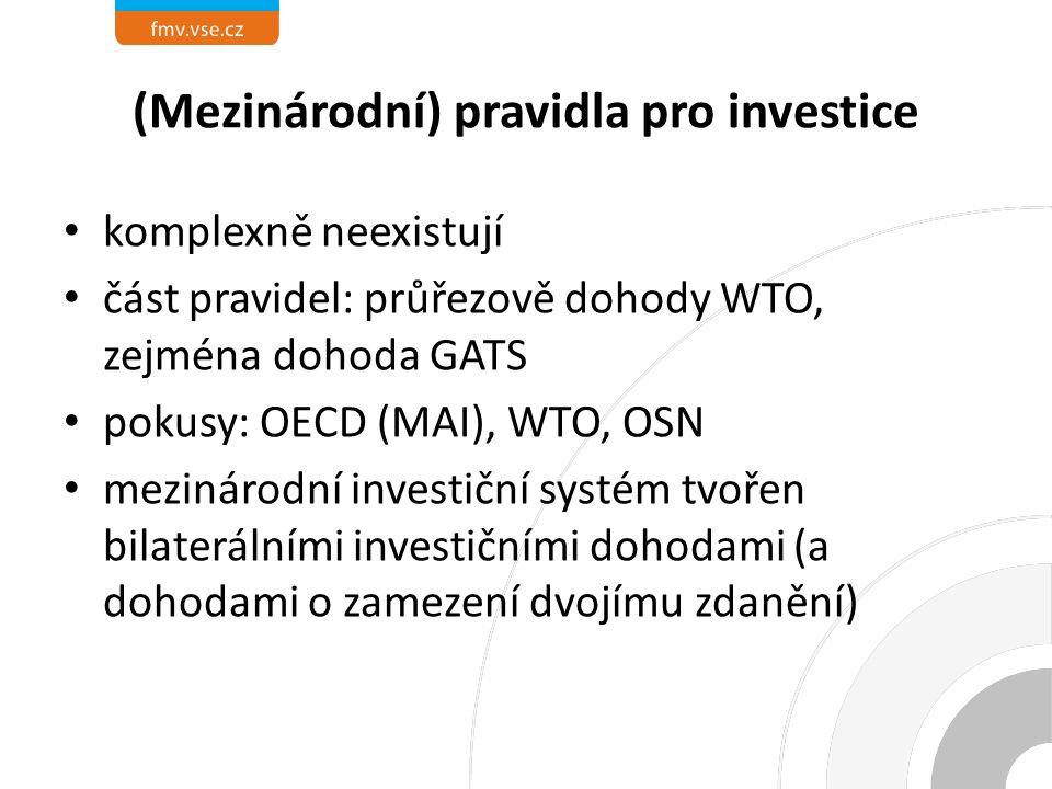 (Mezinárodní) pravidla pro investice komplexně neexistují část pravidel: průřezově dohody WTO, zejména dohoda GATS pokusy: OECD (MAI), WTO, OSN mezinárodní investiční systém tvořen bilaterálními investičními dohodami (a dohodami o zamezení dvojímu zdanění)