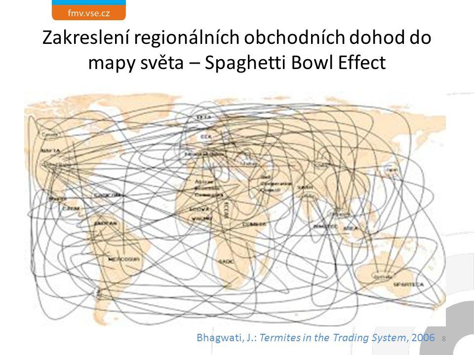 Zakreslení regionálních obchodních dohod do mapy světa – Spaghetti Bowl Effect 8 Bhagwati, J.: Termites in the Trading System, 2006
