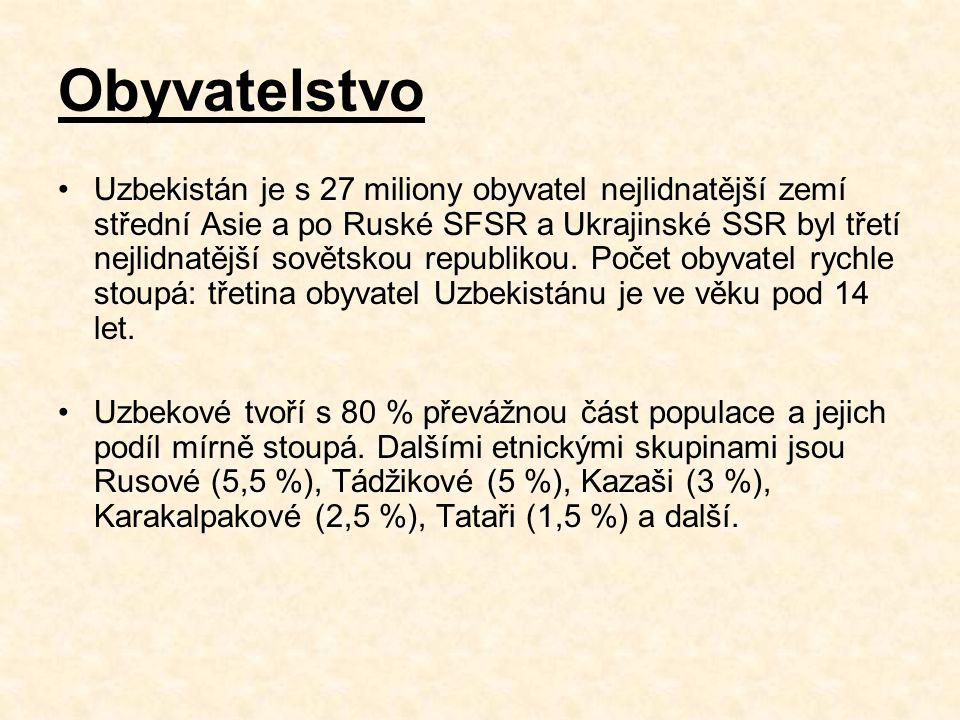 Obyvatelstvo Uzbekistán je s 27 miliony obyvatel nejlidnatější zemí střední Asie a po Ruské SFSR a Ukrajinské SSR byl třetí nejlidnatější sovětskou republikou.
