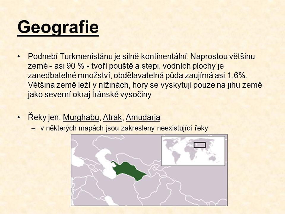 Geografie Podnebí Turkmenistánu je silně kontinentální.