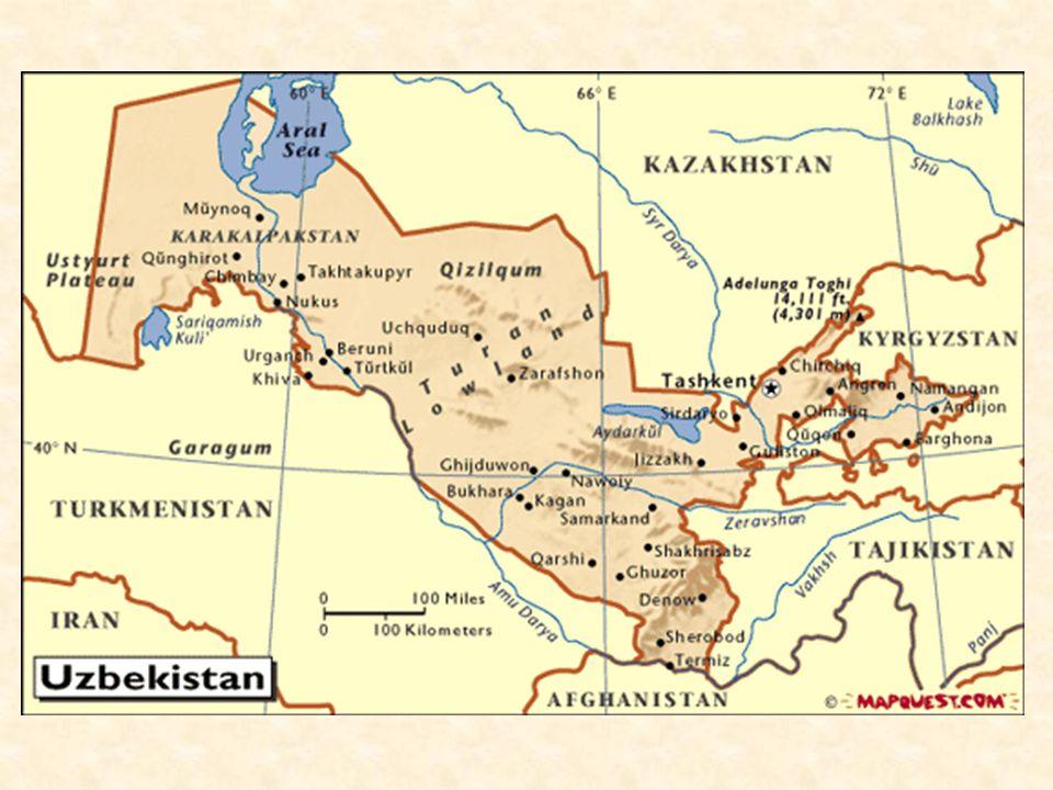 Obecné info Hlavní město: Taškent Rozloha: 447 400 km² (57.