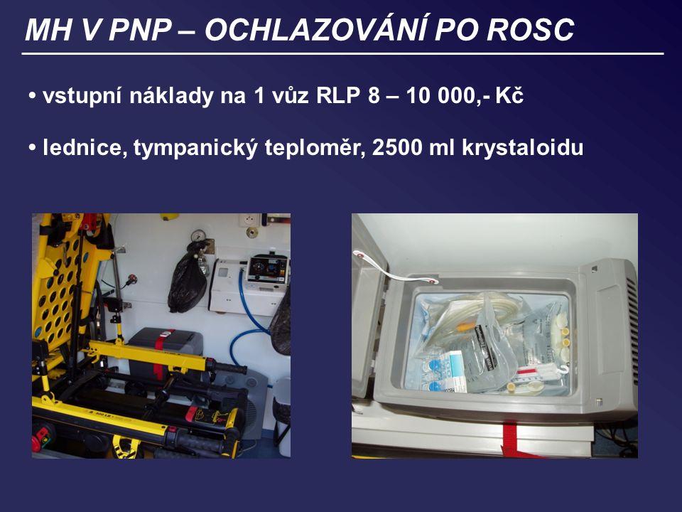MH V PNP – OCHLAZOVÁNÍ PO ROSC vstupní náklady na 1 vůz RLP 8 – 10 000,- Kč lednice, tympanický teploměr, 2500 ml krystaloidu