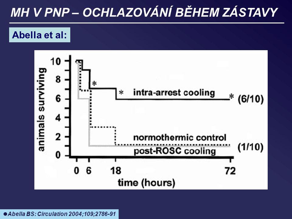 MH V PNP – OCHLAZOVÁNÍ BĚHEM ZÁSTAVY Abella et al: Abella BS: Circulation 2004;109;2786-91