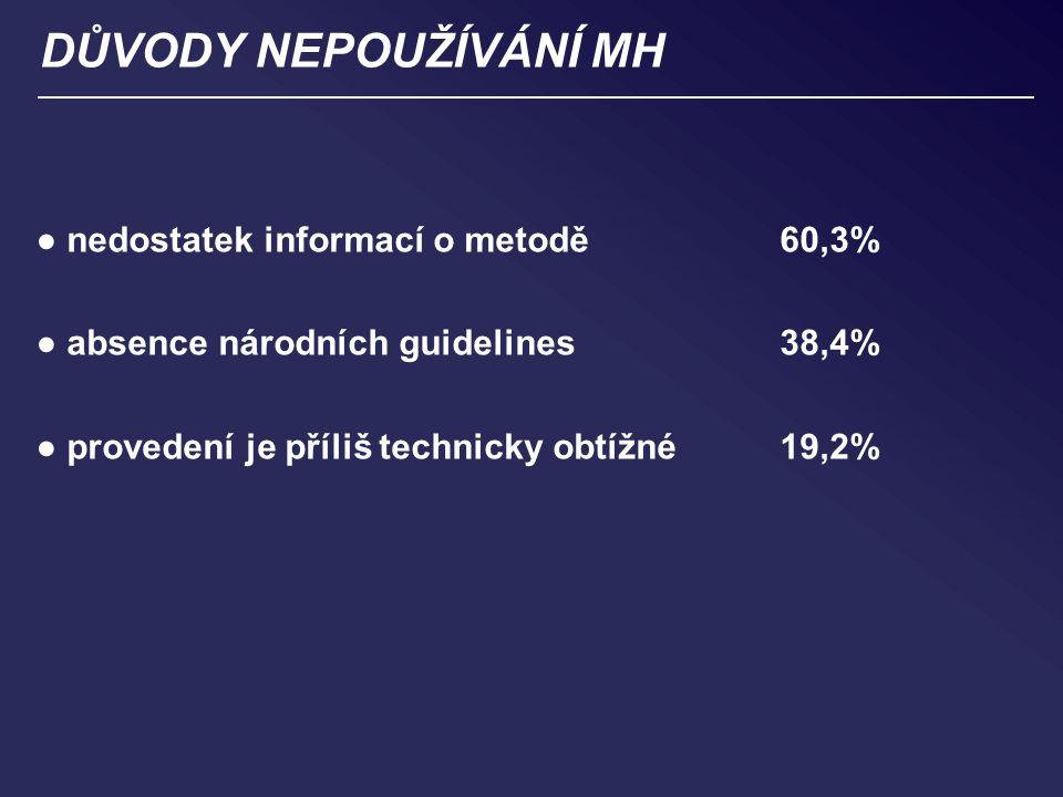 DŮVODY NEPOUŽÍVÁNÍ MH ● nedostatek informací o metodě 60,3% ● absence národních guidelines 38,4% ● provedení je příliš technicky obtížné19,2%