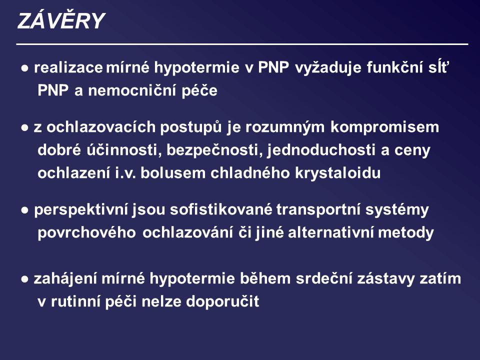 ZÁVĚRY ● realizace mírné hypotermie v PNP vyžaduje funkční sÍť PNP a nemocniční péče ● z ochlazovacích postupů je rozumným kompromisem dobré účinnosti, bezpečnosti, jednoduchosti a ceny ochlazení i.v.