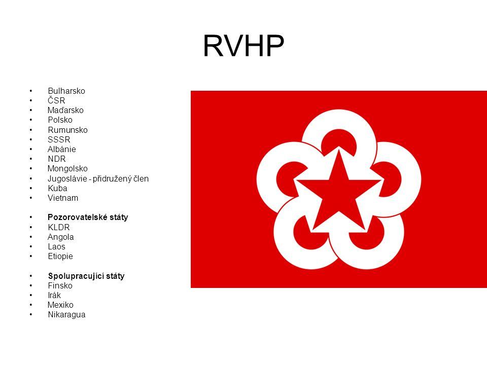 RVHP Bulharsko ČSR Maďarsko Polsko Rumunsko SSSR Albánie NDR Mongolsko Jugoslávie - přidružený člen Kuba Vietnam Pozorovatelské státy KLDR Angola Laos