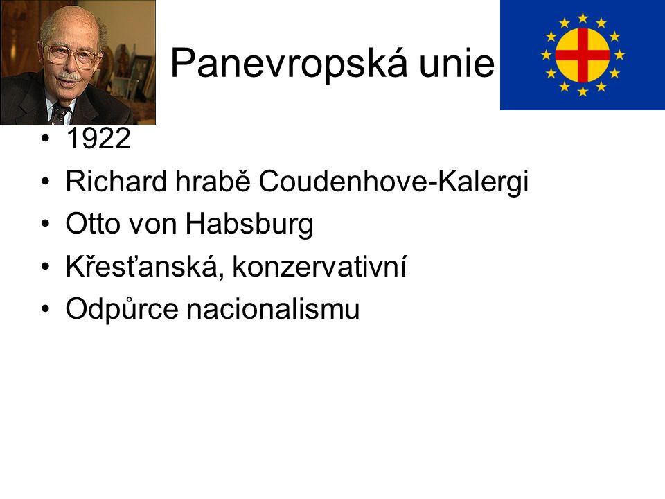 Panevropská unie 1922 Richard hrabě Coudenhove-Kalergi Otto von Habsburg Křesťanská, konzervativní Odpůrce nacionalismu