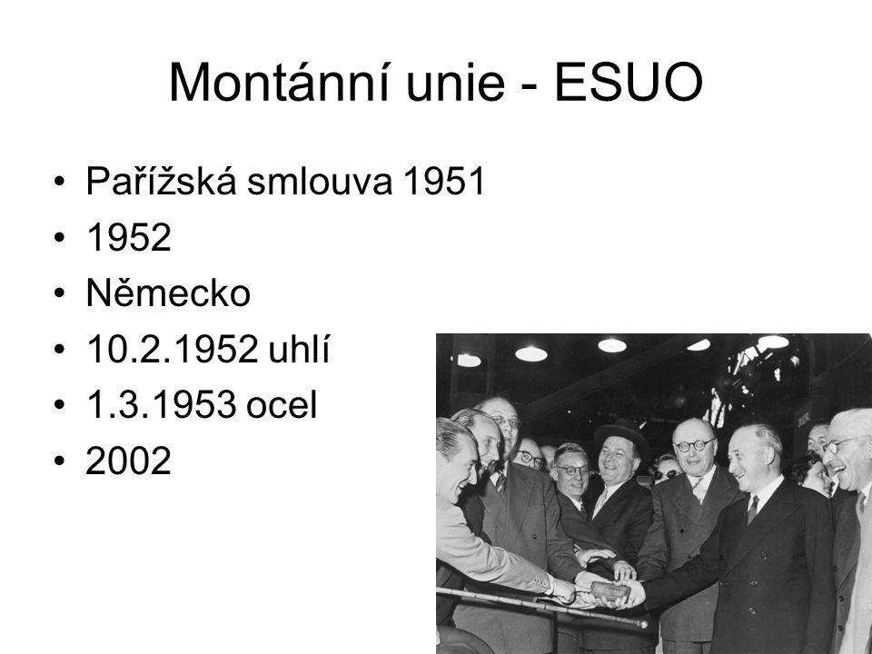 Montánní unie - ESUO Pařížská smlouva 1951 1952 Německo 10.2.1952 uhlí 1.3.1953 ocel 2002