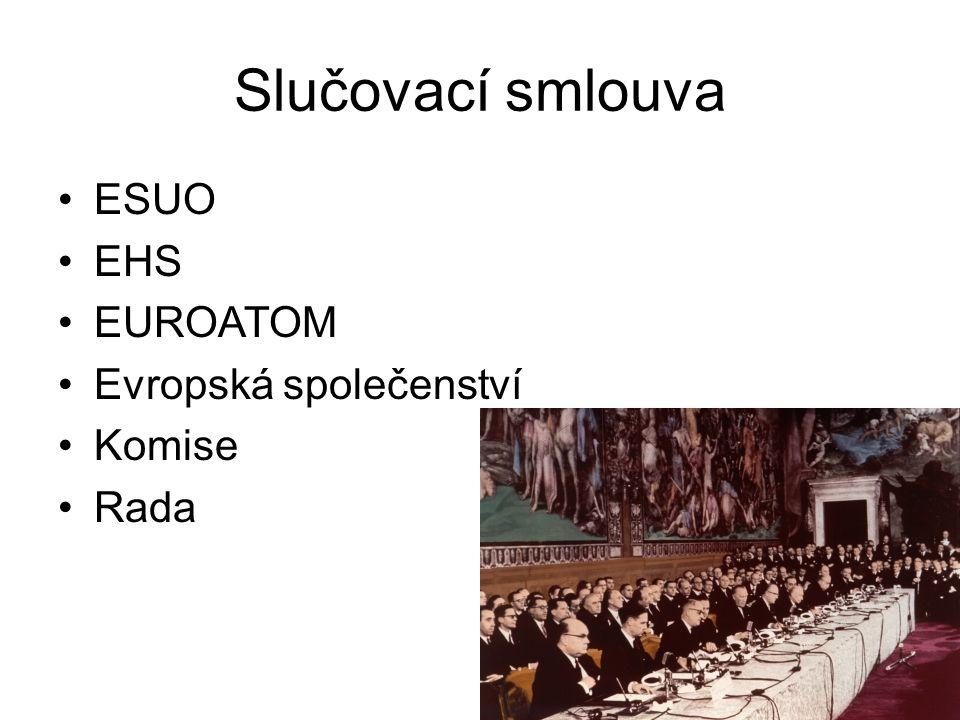 Slučovací smlouva ESUO EHS EUROATOM Evropská společenství Komise Rada