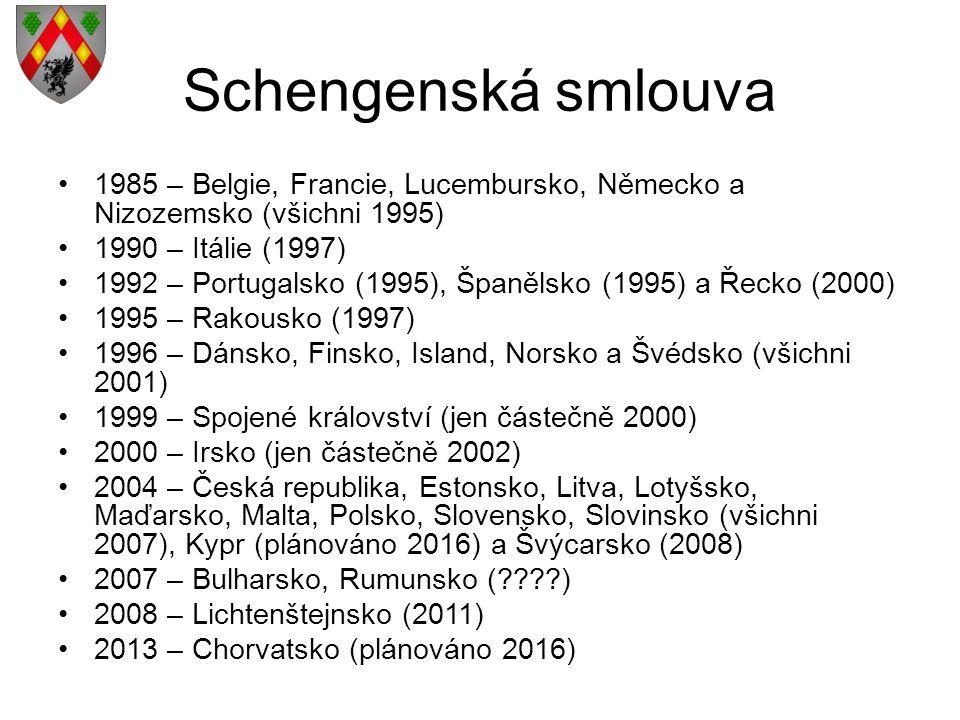 Schengenská smlouva 1985 – Belgie, Francie, Lucembursko, Německo a Nizozemsko (všichni 1995) 1990 – Itálie (1997) 1992 – Portugalsko (1995), Španělsko (1995) a Řecko (2000) 1995 – Rakousko (1997) 1996 – Dánsko, Finsko, Island, Norsko a Švédsko (všichni 2001) 1999 – Spojené království (jen částečně 2000) 2000 – Irsko (jen částečně 2002) 2004 – Česká republika, Estonsko, Litva, Lotyšsko, Maďarsko, Malta, Polsko, Slovensko, Slovinsko (všichni 2007), Kypr (plánováno 2016) a Švýcarsko (2008) 2007 – Bulharsko, Rumunsko (????) 2008 – Lichtenštejnsko (2011) 2013 – Chorvatsko (plánováno 2016)