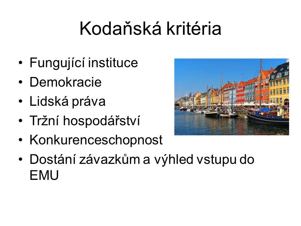 Kodaňská kritéria Fungující instituce Demokracie Lidská práva Tržní hospodářství Konkurenceschopnost Dostání závazkům a výhled vstupu do EMU