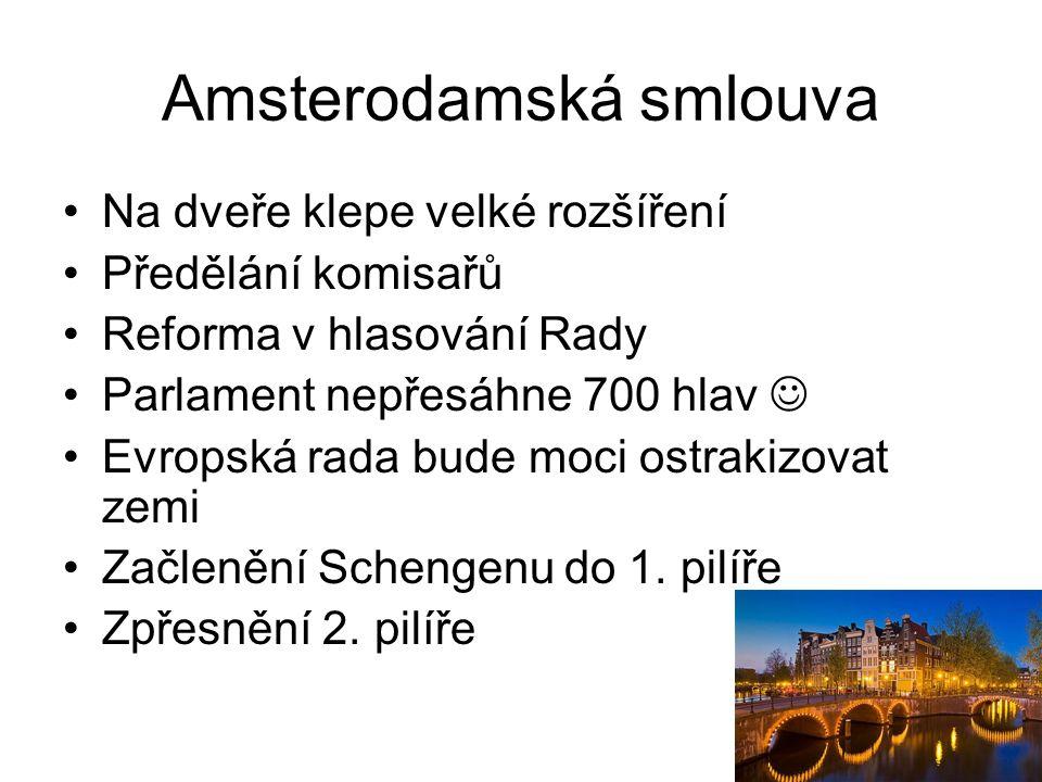 Amsterodamská smlouva Na dveře klepe velké rozšíření Předělání komisařů Reforma v hlasování Rady Parlament nepřesáhne 700 hlav Evropská rada bude moci
