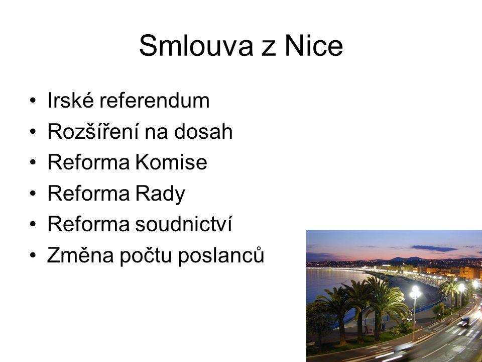 Smlouva z Nice Irské referendum Rozšíření na dosah Reforma Komise Reforma Rady Reforma soudnictví Změna počtu poslanců