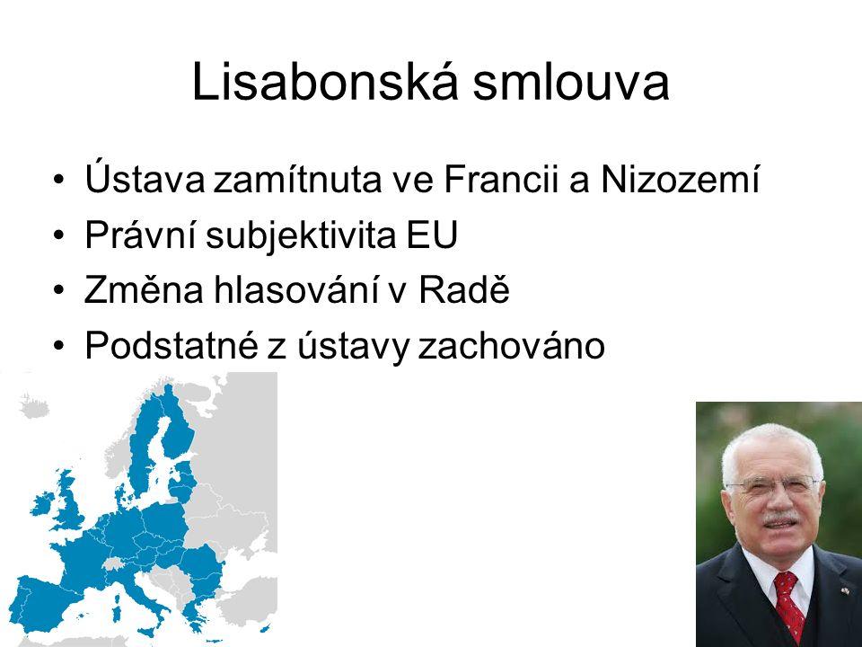 Lisabonská smlouva Ústava zamítnuta ve Francii a Nizozemí Právní subjektivita EU Změna hlasování v Radě Podstatné z ústavy zachováno