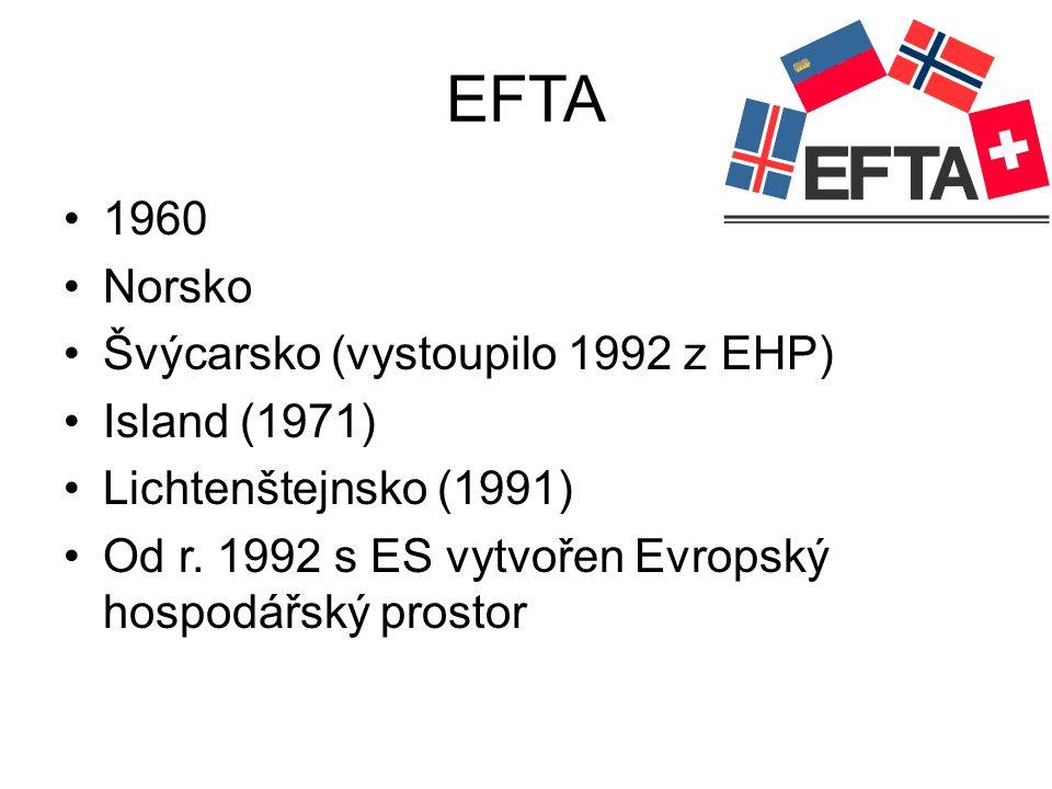 EFTA 1960 Norsko Švýcarsko (vystoupilo 1992 z EHP) Island (1971) Lichtenštejnsko (1991) Od r. 1992 s ES vytvořen Evropský hospodářský prostor