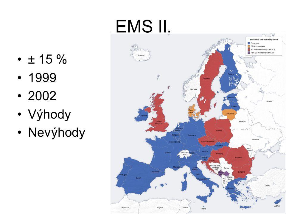 EMS II. ± 15 % 1999 2002 Výhody Nevýhody
