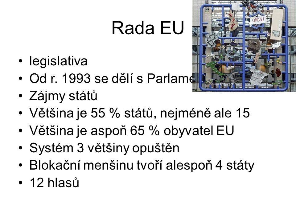 Rada EU legislativa Od r. 1993 se dělí s Parlamentem Zájmy států Většina je 55 % států, nejméně ale 15 Většina je aspoň 65 % obyvatel EU Systém 3 větš